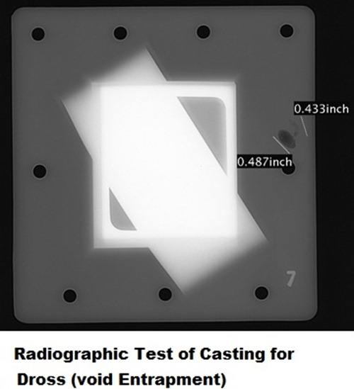 Dross in casting tested by x-ray