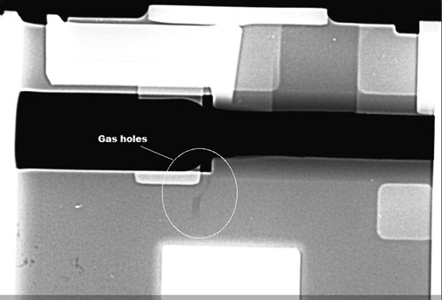 gas holes in casting tested by x-ray